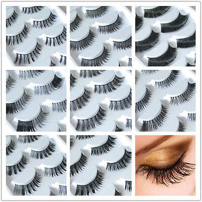 5Pairs Long Cross False Eyelashes Makeup Natural Fake Thick Black Eye Lashes 002