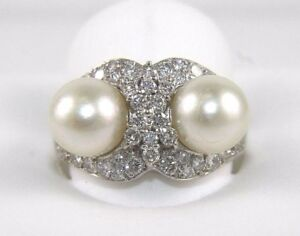 Jewelry & Watches Intellective Fine Double South Sea Pearl Solitaire Cluster Ring 18k White Gold 8.5mm 1.16ct Fine Rings