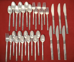 Oxford Hall Weave Stainless Silverware Flatware 31pc Set W