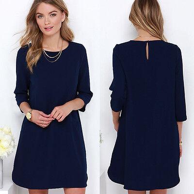 Women's Loose Chiffon Long Sleeve Evening Cocktail Party Shirt Short Mini Dress