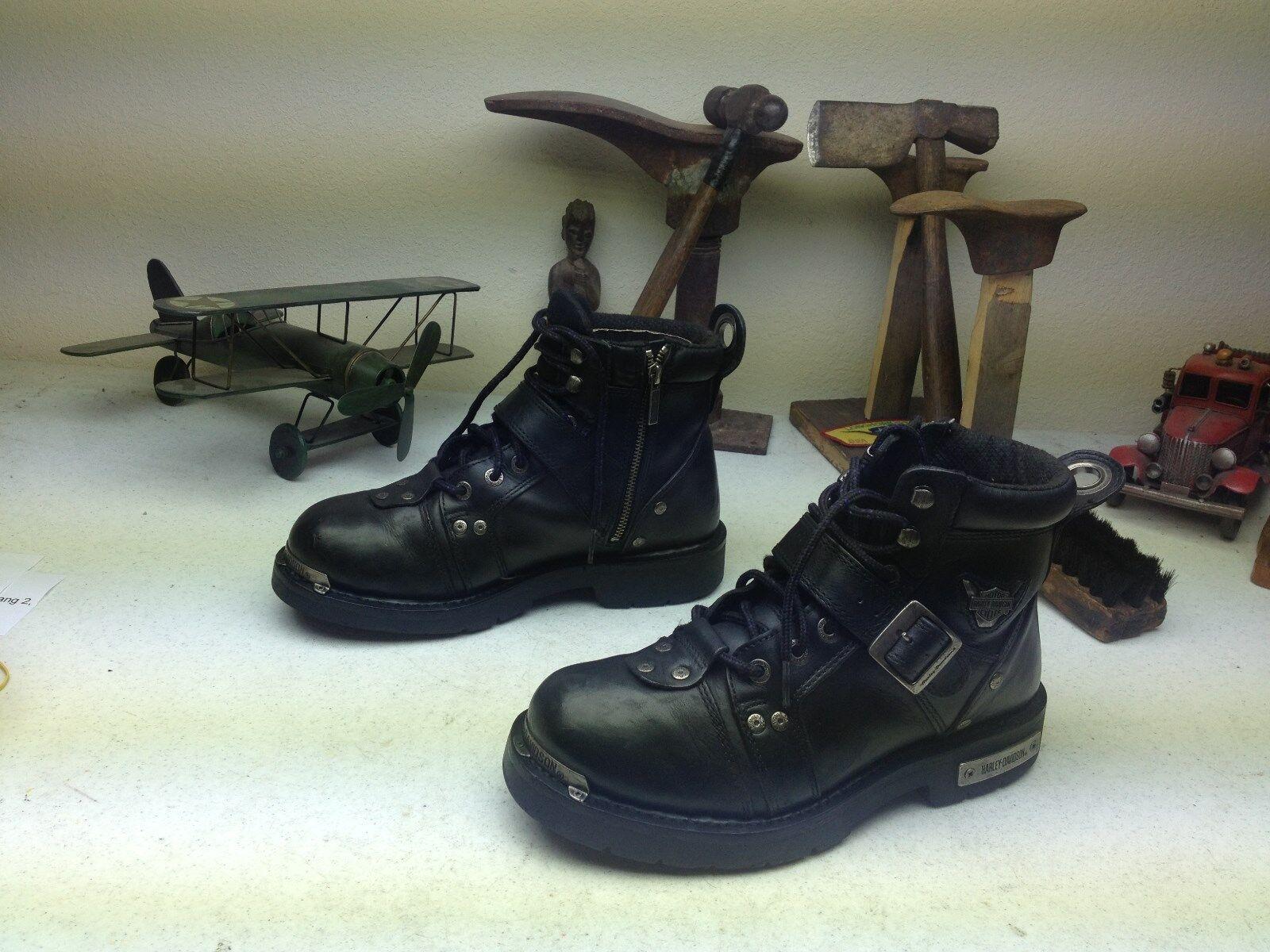 ZIP LACE HARLEY-DAVIDSON MOTORCYCLE ENGINEER schwarz LEATHER BOSS Stiefel Größe 9.5 M