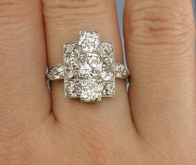 $14750.00-3.20ct Old Mine Cut Diamond ArtDeco Style Ring,Size8.25 -Platinum