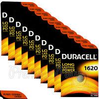 10 x Duracell Lithium CR1620 3V Coin Cell batteries DL1620 ERC1620 KRC EXP:2025