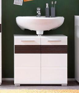 Das Bild Wird Geladen Badezimmer Waschbecken Unterschrank  Weiss Hochglanz Eiche Mezzo Bad