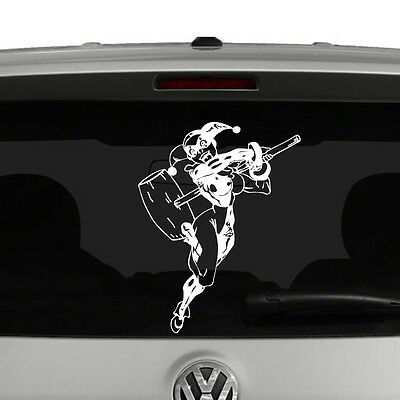 Harley Quinn Laughing with Mallet Vinyl Decal Sticker Car Window