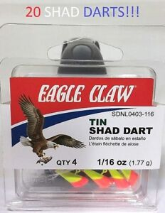 20-Eagle-Claw-1-16oz-Orange-Chartreuse-Tin-Shad-Darts-SDNL0403-116-EB010103