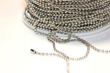 15ft Nickel Silver 2mm Ball bead Chain links Expedited Shipping Available