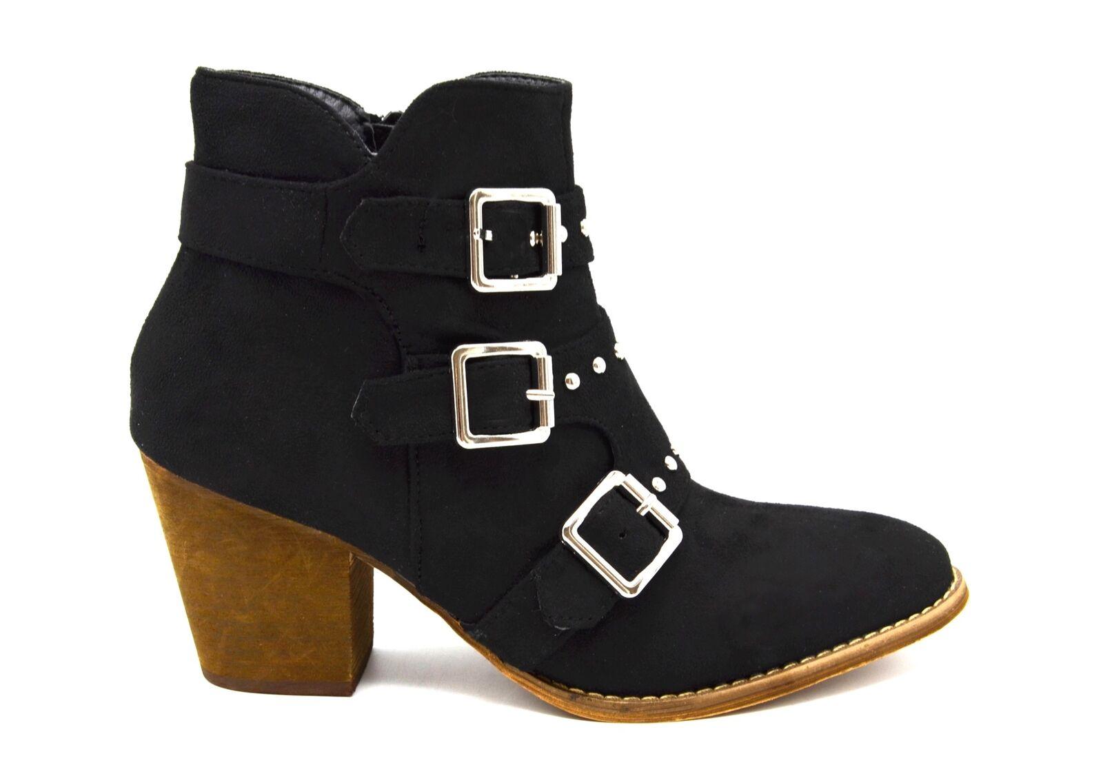 Boucles Triple Boots Daim Avec Bottines Shf97 Effet Petit Et Talon FzPYfq