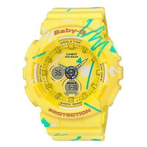 Casio-Baby-G-BA-120SC-9A-Yellow-Graffiti-Digital-Analog-Women-039-s-Sports-Watch
