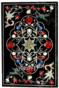 24 X 36 Inches Marble Sofa Table Top Black Coffee Table Inlaid Marquetry Art Ebay