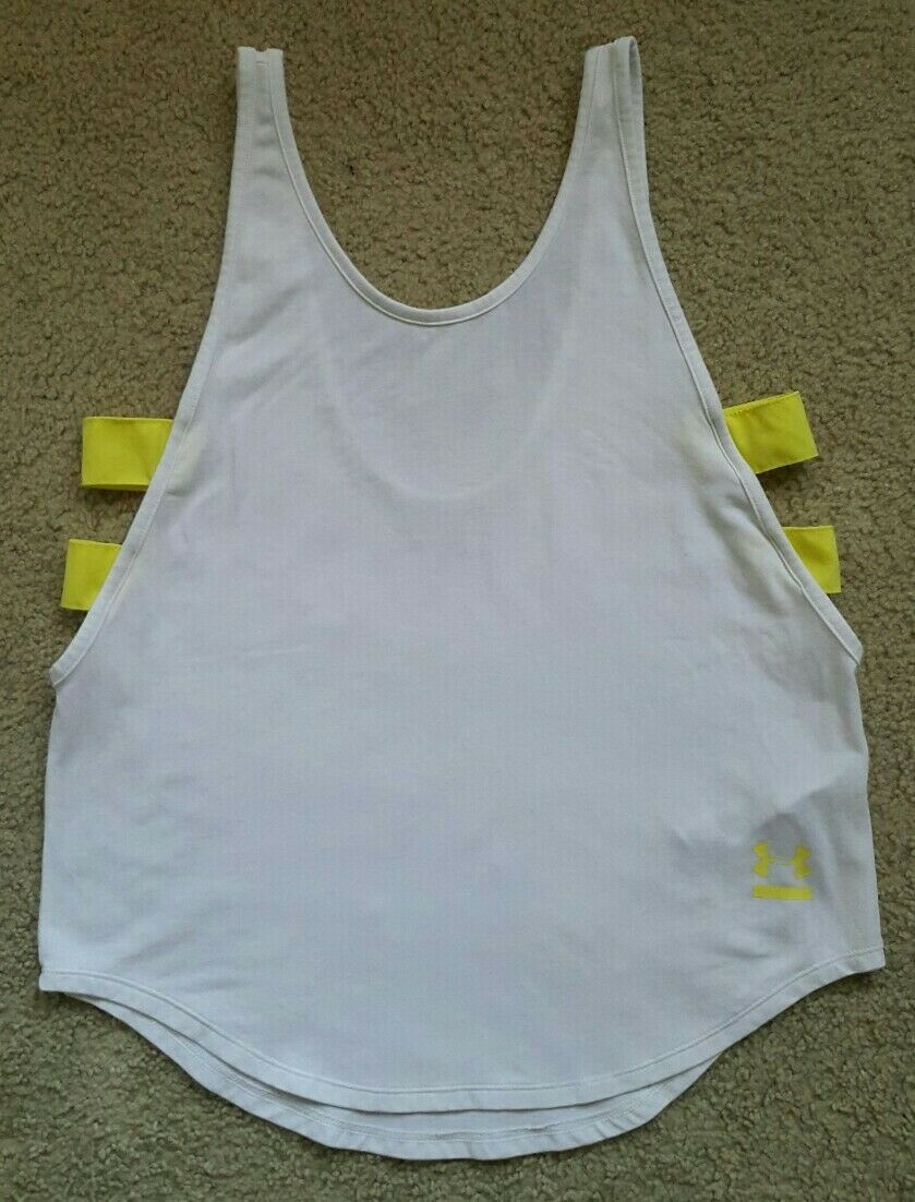 Women Under armour sleeveless tank top Small White and yellow
