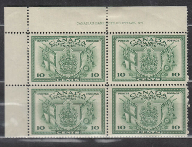 1942 #E10 10¢ KING GEORGE VI SPECIAL DELIVERY WAR ISSUE UL PLATE BLOCK #1 F-VF
