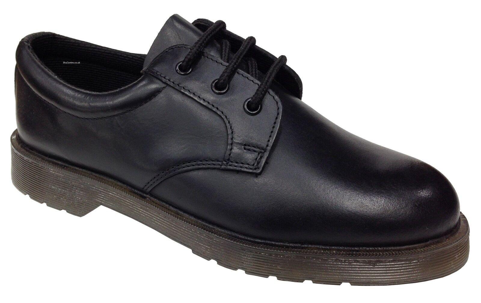 Grafters STYLISCH Uniform Schuhe schwarzes Sohle Leder Gepolsterter Kragen Luft Sohle schwarzes f00f3d