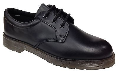 Grafters Stylish Uniform Shoe Black Leather Padded Collar Air Cushion Sole New