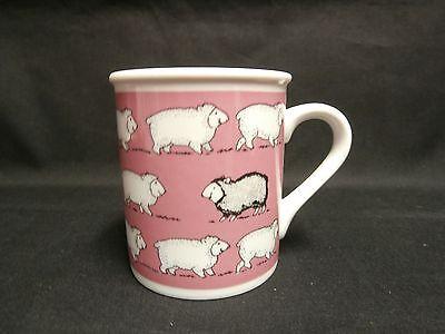 Vintage Enesco 1984 Pink Coffee Mug Tea Cup 16 white sheep and 1 black sheep