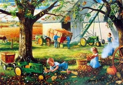 "Charles Freitag  Autumn Memories John Deere Children Art  Print 12/"" x 7.75/"""