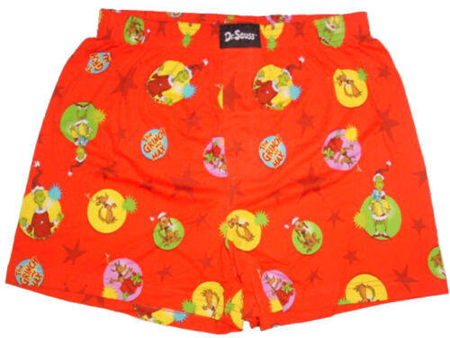 NEW THE GRINCH DR XL SEUSS THE GRINCH /& MAX RED COTTON BOXER SHORT UNDERWEAR M
