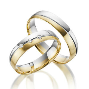2-x-585-Trauringe-Gold-Bicolor-Weissgold-Eheringe-Massiv-Paarpreis-ECHT-GOLD