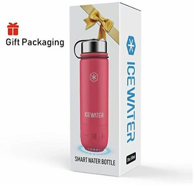 ICEWATER 3-in-1 Smart Water Bottle Glows to Remind You to Stay Hydrated Pink +Bluetooth Speaker+ Dancing Lights,22 oz,Stay Hydrated and Enjoy Music,Great Gift
