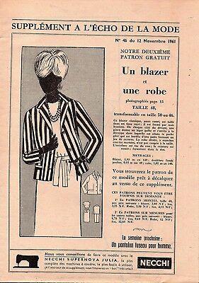 Taille 46 48 50 1961 N°46 blazer et robe ▬► Patron Couture Écho de la Mode