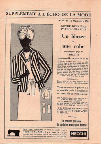 Taille 46 48 50 blazer et robe ▬► Patron Couture Écho de la Mode 1961 N°46