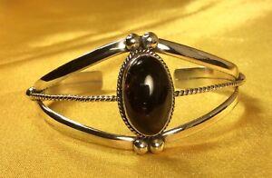 925-Sterling-Silver-Dark-Amber-Gemstone-Cuff-Bracelet-Fine-Jewelry