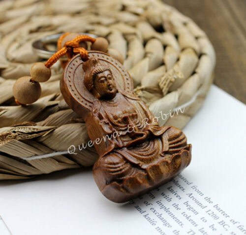 Wood Carving Chinese Kwan Quan Yin Statue Sculpture Amulet Pendant Key Chain