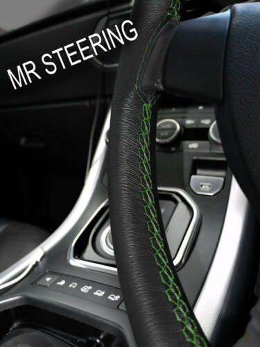 FITS FORD FIESTA MK4 5 96-01 LEATHER STEERING WHEEL COVER GREEN DOUBLE STITCHING