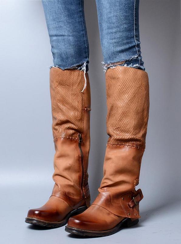 Western Cowboy botas Hasta La Rodilla Cuero Cuero Cuero Retro Zapatos Para Mujer Hebilla Cremallera Equitación  bajo precio