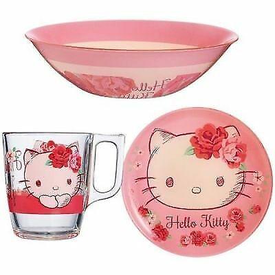 Luminarc 'Hello Kitty Rose Passion  3-pc incassable VERRE enfant Dinnerware Set