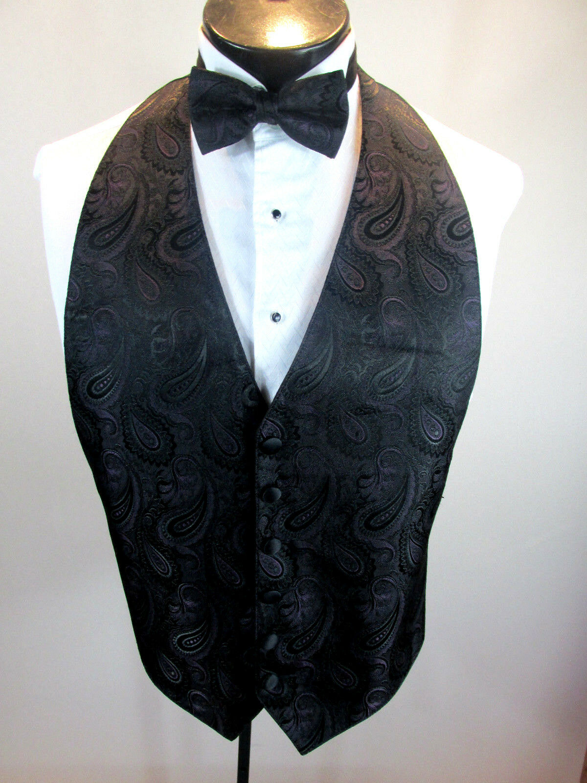 Mens Formal Vest Black & Wine Paisley Design Matching Tie Included OSFA B2