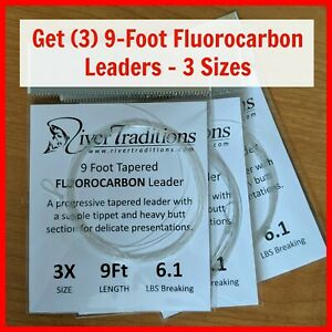 FLY-FISHING-LEADERS-PACKAGE-OF-3-Fluorocarbon-mails-free-from-USA-3-sizes