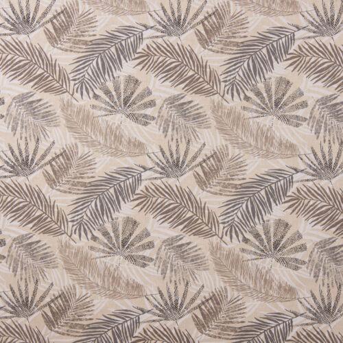 Dekostoff Baumwollstoff Palmenblätter natur braun grau 1,40m Breite