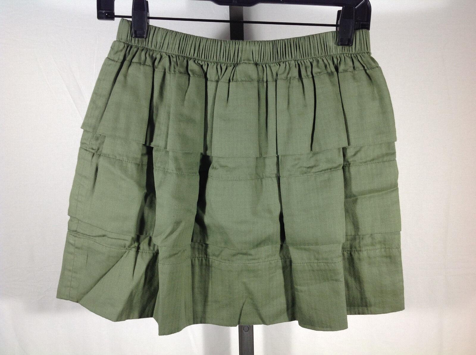 Ruffled Tiered Skirt M Medium Army Green