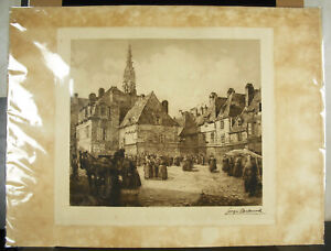 Georges-Maulemouck-Quimper-La-Place-Of-Market-17-11-16in-Print-Brittany