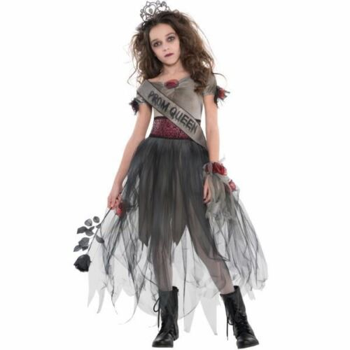 Girls Zombie Prom Queen Prombie Costume Child Halloween Fancy Dress Kids Outfit