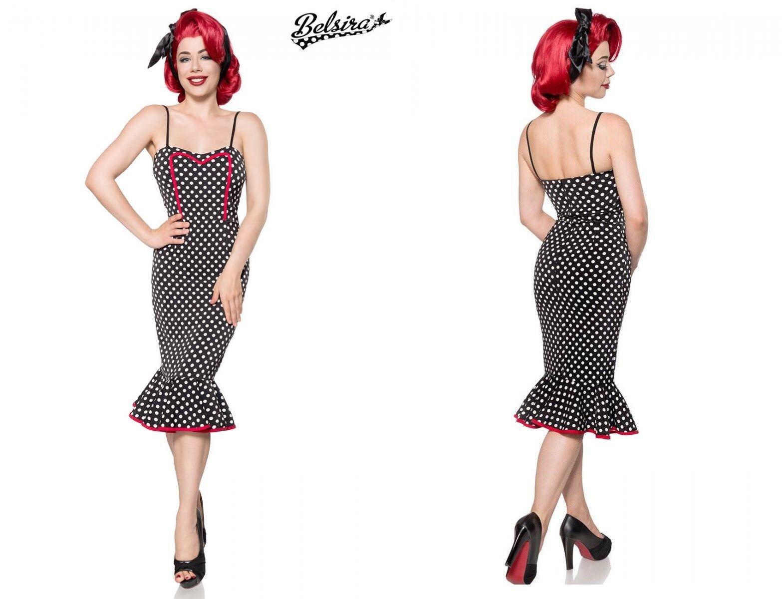 BELSIRA PUNKTE KLEID vintage dots polka schwarz rockabilly pinup  bleistift