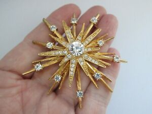 Vintage-Signed-Avon-NR-Gold-Tone-Star-Clear-Glass-Atomic-Statement-Brooch-Pin