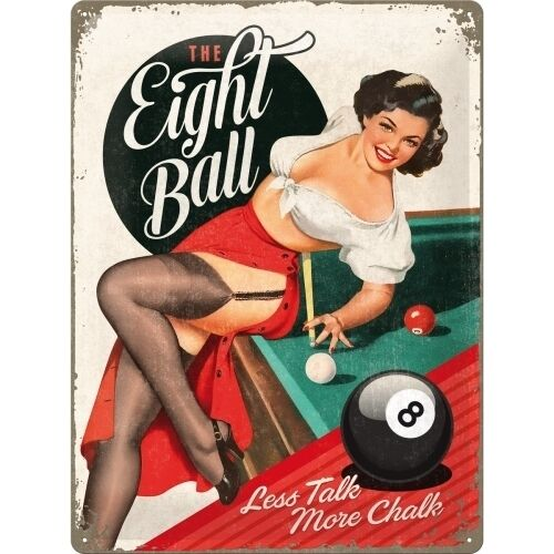Eight Ball Pool Retro Pinup Girl Pub Bar Man Cave Large 3D Metal Embossed Sign