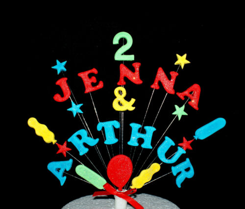 Twin or Double Balloon and Star custom Birthday Cake Topper personalised