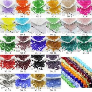 Bicone-Spacer-Glass-Crystal-Loose-Beads-4mm-6mm-8mm-Assorted-DIY-Jewelry-Beads