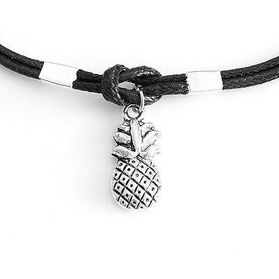 Black Cord Leaf Hamsa Owl Pineapple Heart Ohm Peace Charm Anklet