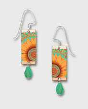 Orange Sunflower EARRINGS by Lemon Tree STERLING Silver Dangle - Gift Boxed