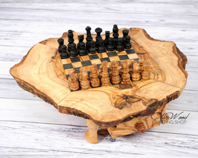 Handmade Rustic Olive Wood Small Chess Board S6x6 Chess Game Unique Gift