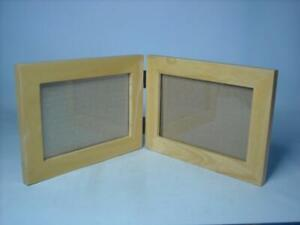 """Solid Wood DOUBLE PHOTO FRAME Landscape Style Foldable Display 6""""x4"""" Pictures"""