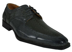 Men-039-s-Dress-Giovanni-Shoes-Formal-Crocodile-Style-Oxford-New-Prom-Grey-M69-6419