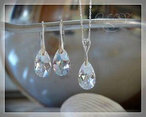 Swarovski-Elements-Schmuckset-4tlg-Silber-925-mit-Kette-Crystal-Moonlight-NEU