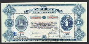 AUSTRALIA-2013-CENTENARY-1ST-COMMONWEALTH-BANK-NOTES-SOUVENIR-SHEET-2-STAMP-USED
