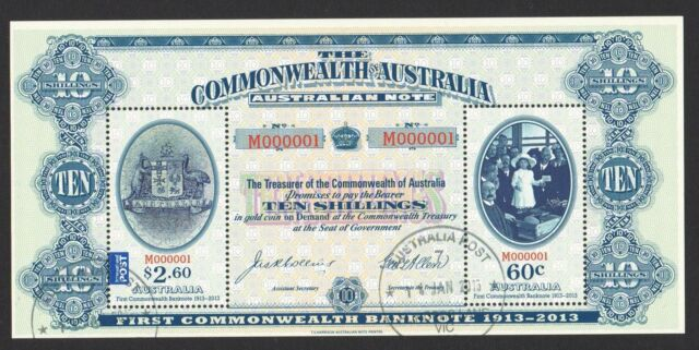 AUSTRALIA 2013 CENTENARY 1ST COMMONWEALTH BANK NOTES SOUVENIR SHEET 2 STAMP USED