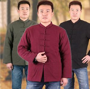 ChineseTraditional Men Winter Kungfu Taichi Wushu uniform Cotton Jacket clothes